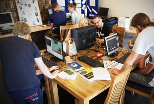 Photograph of Ninjas coding with Minecraft at Stockport Dojo